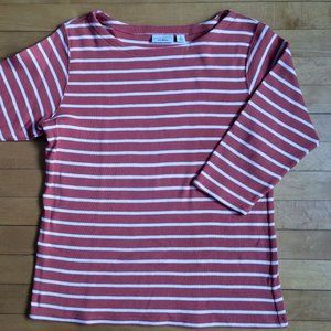 LL Bean 3/4 Sleeve Striped Top